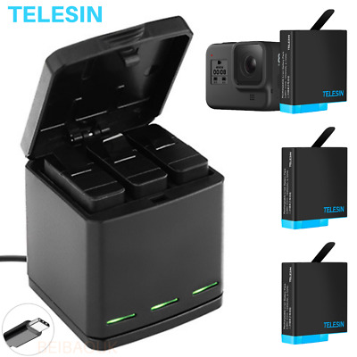 AU24.93 • Buy TELESIN Battery Charger Case For GoPro Hero 8 7 6 5 Black Charging& Storage Box