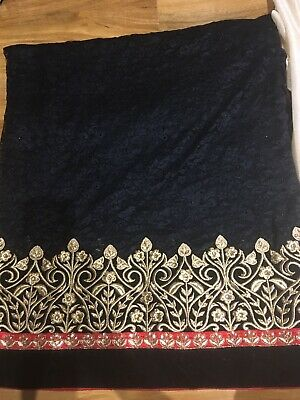 Gorgeous Indian Wedding Designer Black Lace Saree With Golden Embroidered Border • 150£