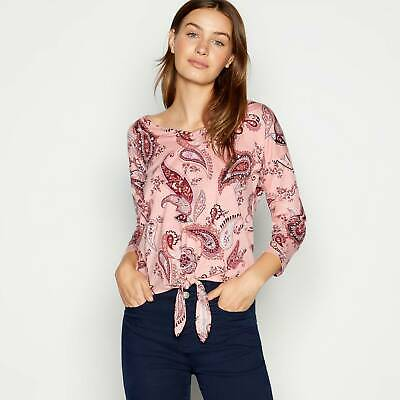Principles Women's Pink Paisley Print Tie Front Cotton And Modal Top Size 12 • 9.99£