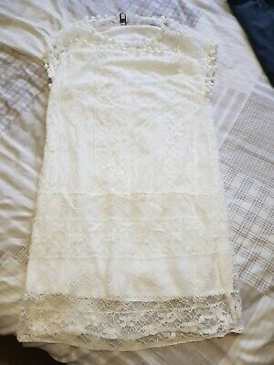 New Lined Ivory Lace Summer Dress 8/10 • 2£
