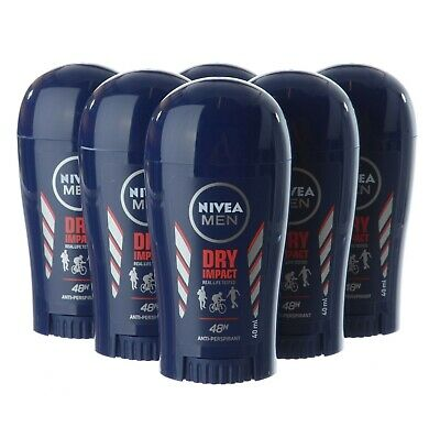 Nivea Men Dry Impact Anti-perspirant Deodorant Stick 40ml 6 Pack • 14.99£