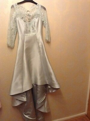 BNWT Coast Size 6 Ramora Mint High Low Dress Me Prom Gown Lace Sleeves £295 • 73.99£