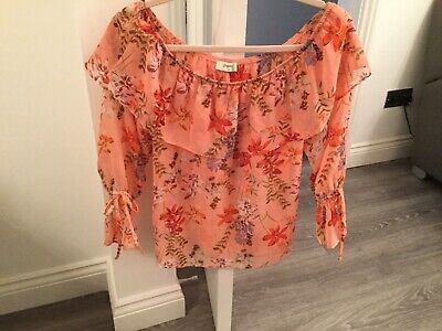 Ladies Brand New Off The Shoulder Top  Peach Size12 Matalan • 2.20£