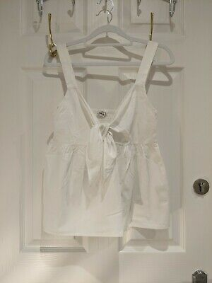 Pinkie White Cotton Tie-front Summer Beach Top Size Small • 3.50£