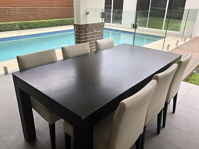 AU250 • Buy 7 Piece Modern Dining Set With Timber Table And Leather Chairs