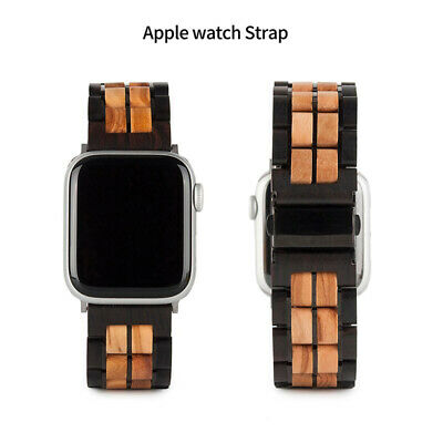 $ CDN72.78 • Buy Replacement Wood Watch Strap For Apple Watch 4 Band Series 1/2/3/4 Stainless Ste