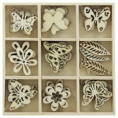 Arts And Crafts Hobbies Wooden Butterfly Embellishments Box: Set Of 45 • 5.55£