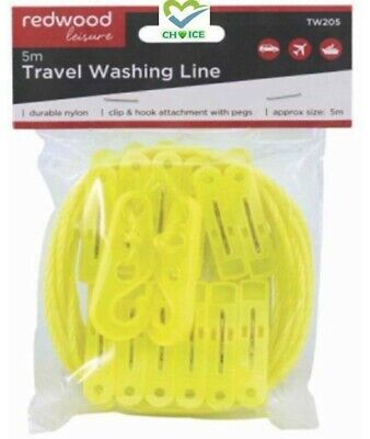 5m Travel Camping Washing Clothes Line With 12 Pegs Clip & Hooks Attachment • 1.99£