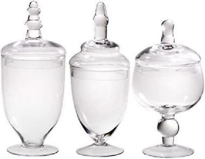 Palais Glassware Clear Glass Apothecary Jars - Set Of 3 - Wedding Candy Buffet C • 34.88£
