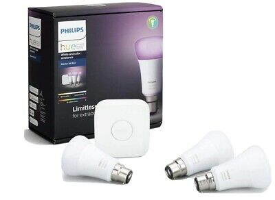 AU180.25 • Buy PHILIPS HUE STARTER KIT * 3x B22 BULBS * WHITE / COLOUR AMBIANCE INC BRIDGE *