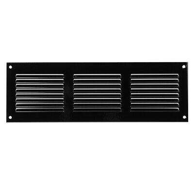 £5.99 • Buy Black Metal Air Vent Grille 300mm X 100mm With Fly Screen Flat Louvre Duct Cover
