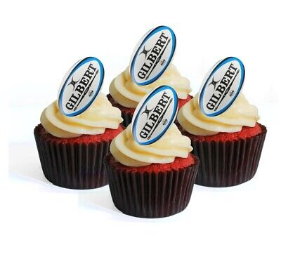 £2.49 • Buy Rugby Balls Theme #2 Edible Cupcake Toppers-Stand Up Wafer Cake Decorations