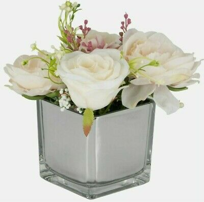 Artificial White Pale Pink Peony Flowers Arrangement In Mirror Cube Vase • 17.99£