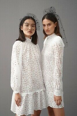AU240 • Buy Scanlan Theodore White Embroidered Dress Size 8