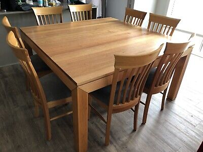 AU900 • Buy 9 Piece Dining Setting. 8 High Back Padded Chairs With Square Table