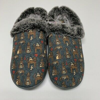 Bobs Skechers Faux Fur Lined Comfort Slippers Repeat Dog Cat Print New Size 7 • 28.94£
