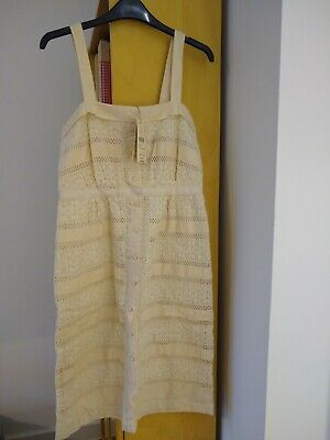 £20 • Buy Cream Ecru Ivory Broderie Anglaise Lace Dress Monsoon Strappy Knee Size 8 10