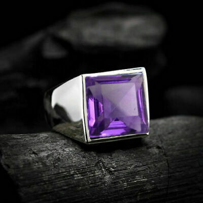 £39.75 • Buy Solid 925 Sterling Silver Amethyst Gemstone Father Gift Mens Ring Jewelry