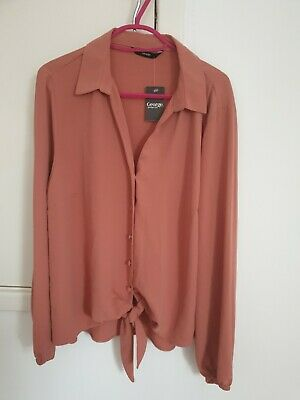 Ladies George Tie & Button Front Long Sleeve Rust Colour Top. Size 14 • 1.23£