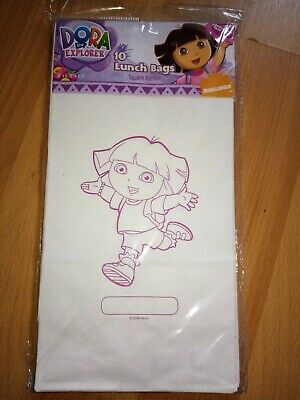 10 Paper Bags-Gift/Treat/Candy/Sweet/Party/Lunch/Picnic Dora, And 8 Party Plates • 0.99£