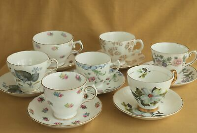 Vintage English Fine Bone China Tea Cups And Saucers, Mix And Match • 5£