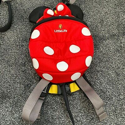 LittleLife Pink Minnie Mouse Ladybird Toddler Backpack Reins • 9.95£