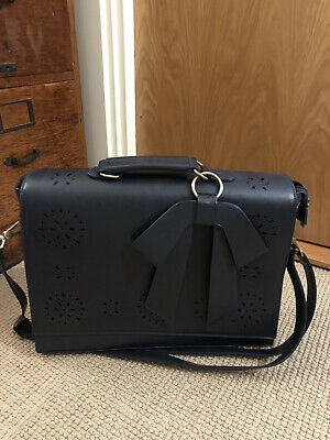 Navy Briefcase Bag Large Capacity (Laptop Padded) - Top Handle Or Crossbody • 22£