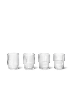 AU90 • Buy Ferm Living Ripple Glasses Tumblers Set Of 4 - Clear (New Without Box)