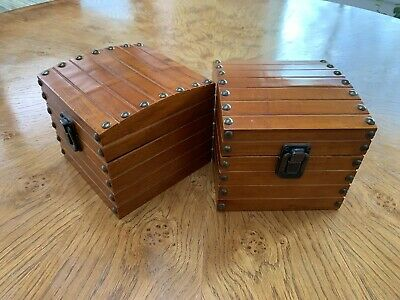 Two Wooden Treasure Chest  Storage Box With Lid • 12£