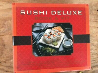 Sushi Deluxe Book & Kit Includes Rolling Mat, Rice Mold, Chopsticks, Sauce Cups • 9.30£