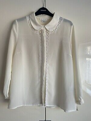 COOPERATIVE X URBAN OUTFITTERS Cream Lace Chiffon Peter Pan Collar Blouse • 3£