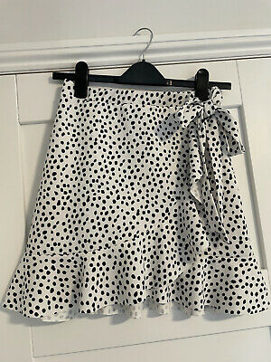New Look White Polka Dot Wrap Skirt Size 8 • 4.50£