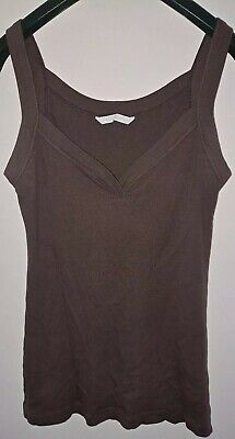 Ladies Matalan V Neck Vest Top/t Shirt Brown Size 10 • 0.99£