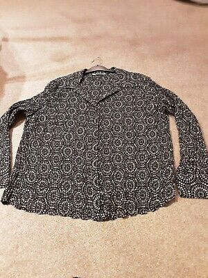 Bn Ladies Matalan Black Crinkle Blouse Size 22 • 1.99£