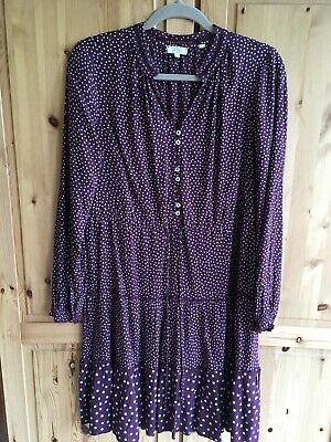 Fat Face Burgundy Polka Dot Knee Length Dress Size 12 In Excellent Condition • 8.50£