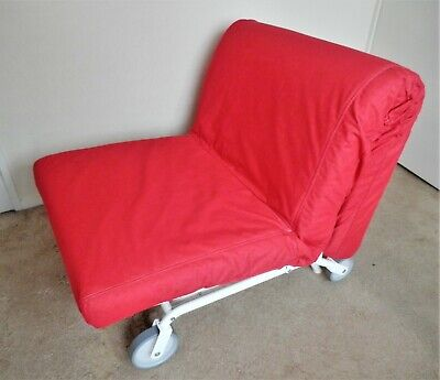 IKEA PS Chair Single Bed Sofa, Good Condition, Red Canvas, Rolls Out Easily • 5£