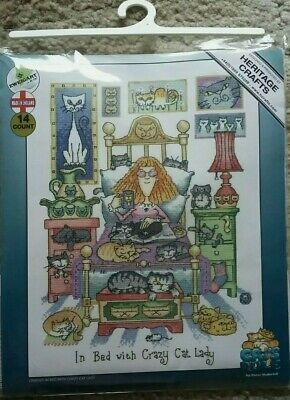 Heritage Crafts Counted Cross Stitch Kit - In Bed With Crazy Cat Lady  - 14 Ct A • 24.50£
