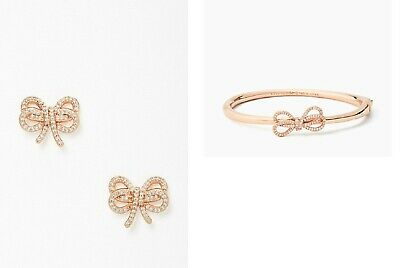 $ CDN123.73 • Buy NWT Kate Spade Bow Meets Girl Rose Gold Pave 2-pc Jewelry Set + Jewelry Box