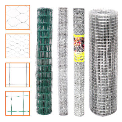 Galvanised/Green Mesh Chicken Wire Netting Garden Landscaping Fence Aviary Farm • 15.54£