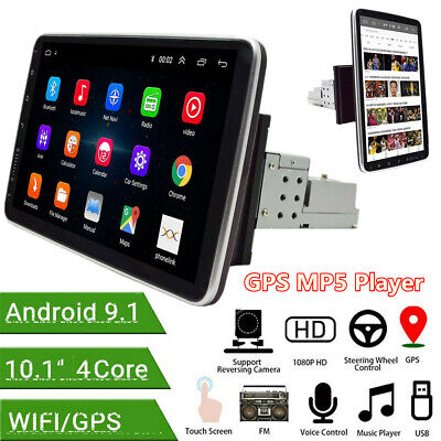 $178.10 • Buy Rotatable 10.1in 1Din Android 9.1 Car FM GPS Stereo Radio Wifi Bluetooth Player