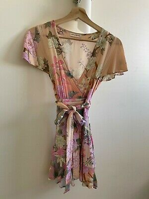 AU19.99 • Buy SPELL & THE GYPSY Pink Floral Wrap Dress Size XS