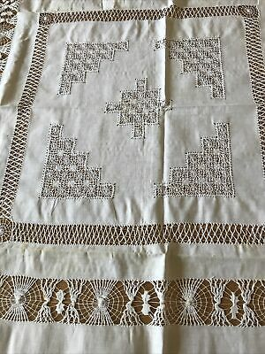 """Vintage Lace And Linen White Square Tablecloth 40"""" • 9.99£"""