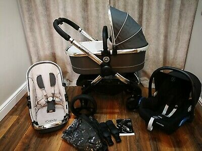 ICandy Peach 3 Truffle 2 Grey Pram Travel System With Maxi Cosi Car Seat 3 In 1 • 367£