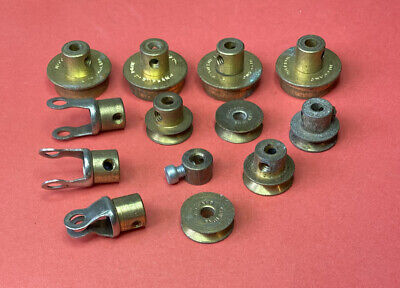 Vintage  Meccano Brass Flanged Wheels Pulleys End Bearing Fork Pieces • 10£