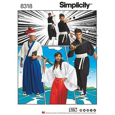 £11.95 • Buy Simplicity Sewing Pattern 8318 Martial Arts Kimono Anime Fighter Costumes XS-XL