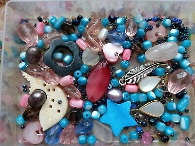 £4.79 • Buy Mop Mother Pearl + Bone Beads Fish Star Large Glass Vintage 90s Pink Blue Stone