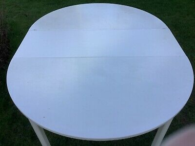 IKEA White Circular Extending To Oval Kitchen Dining Table • 25£