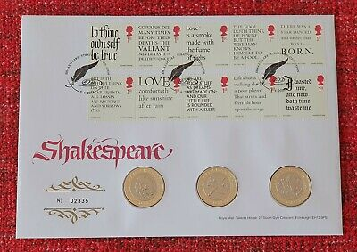 Mint Condition 2016 Shakespeare 400th Ann. BU 3x £2 Pound Coin Set Cover PNC • 45£