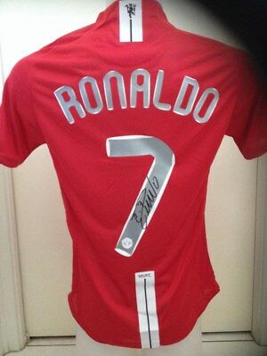 AU175 • Buy Cristiano Ronaldo Hand Signed Manchester United 2008 Champions Leag Jersey+proof