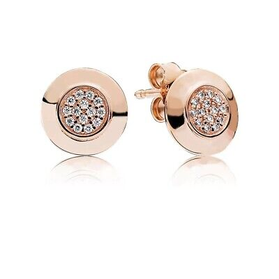 AU27 • Buy Sterling Silver S925 Rose Gold Logo Signature Earrings By Pandora's Queen